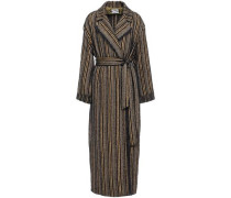 Belted Frayed Bouclé-tweed Coat Midnight Blue