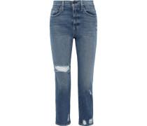 Amazing Cropped Distressed High-rise Slim-leg Jeans Mid Denim  4