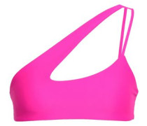 One-shoulder Neon Cutout Bikini Top Bright Pink