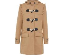 Karinka ruffle-trimmed wool-blend hooded coat