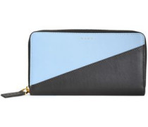 Woman Two-tone Leather Continental Wallet Sky Blue