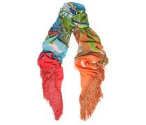 Frayed printed silk scarf
