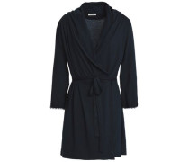 Lace-trimmed Pima cotton-jersey robe