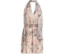 Floral-print silk crepe de chine halterneck mini dress
