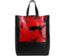 Printed Leather Tote Black Size --