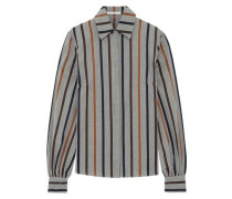 Woman Striped Cotton Oxford Shirt Gray