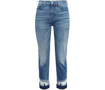 Cropped Faded High-rise Slim-leg Jeans Mid Denim  5