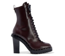 Woman Studded Leather Ankle Boots Merlot