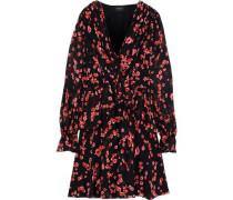 Wrap-effect Floral-print Silk-chiffon Peplum Mini Dress Black