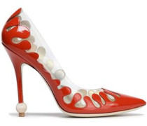Pvc And Metallic Leather Pumps Papaya