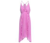Asymmetric Ruffle-trimmed Plissé-voile Dress Lavender