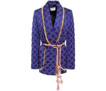 Belted Embellished Quilted Satin Blazer Royal Blue Size 12