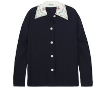 Embroidered Crepe De Chine Shirt Indigo
