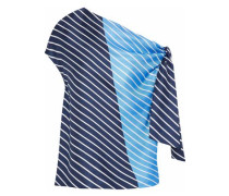 Delphina knotted striped silk satin-twill blouse