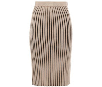 Woman Striped Ribbed Wool Pencil Skirt Sand