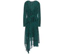 Woman Rosie Asymmetric Leopard-print Georgette Peplum Midi Dress Animal Print
