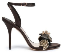 Lilico Floral-appliquéd Satin Sandals Chocolate