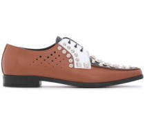 Woman Studded Color-block Perforated Leather Brogues Light Brown