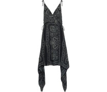 Asymmetric Wrap-effect Printed Silk-chiffon Dress Black