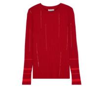 Sequin-embellished Ribbed Wool-blend Sweater Crimson