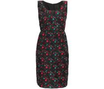 Floral-print Silk-blend Cloqué Mini Dress Black