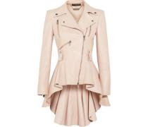 Leather Peplum Biker Jacket Pastel Pink