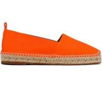 Perforated Leather Espadrilles Bright Orange