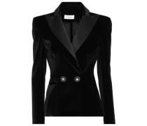 Double-breasted Satin-trimmed Velvet Blazer Black