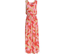 Wrap-effect smocked printed woven maxi dress