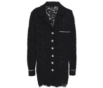 Satin-trimmed Corded Lace Blazer Black