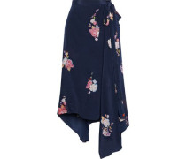 Woman Regina Asymmetric Floral-print Crepe De Chine Wrap Skirt Navy
