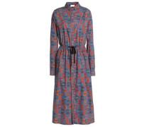 Printed cotton-poplin midi shirt dress
