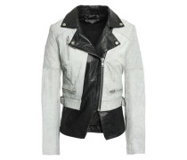 Cracked And Smooth-leather Biker Jacket Stone