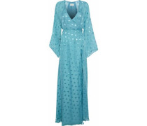 Split-front Fil Coupé Silk-blend Maxi Wrap Dress Light Blue
