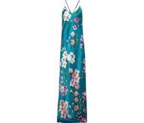 Preminova Barbara Floral-print Silk-satin Nightgown Teal