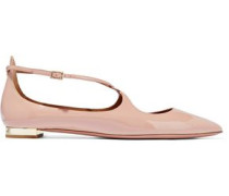 Avery patent-leather point-toe flats