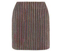 Woman Striped Metallic Ribbed-knit Mini Skirt Multicolor