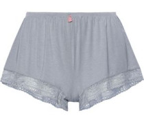 Woman Lace-trimmed Stretch Modal-jersey Pajama Shorts Gray