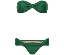 Ruched Embellished Bandeau Bikini Emerald