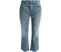 Cropped mid-rise straight-leg jeans