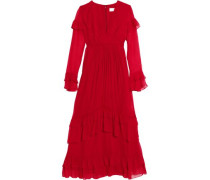 Ruffled Silk-georgette Midi Dress Red Size 0