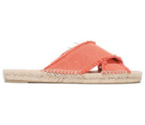 Woman Frayed Canvas Slides Coral