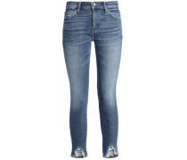 Cropped Distressed Mid-rise Skinny Jeans Dark Denim  9