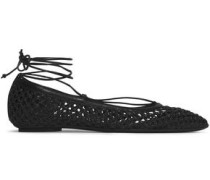 Leather-trimmed braided raffia ballet flats