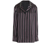 Crystal-embellished striped jacquard shirt