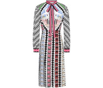 Pussy-bow Pleated Printed Crepe De Chine Dress Multicolor Size 12