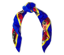 Woman Floral-print Silk-satin Twill Scarf Royal Blue