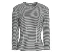 Striped cotton-blend jersey top