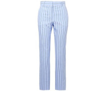 Woman Cropped Striped Cotton Straight-leg Pants Light Blue