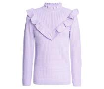 Ruffled pointelle-knit sweater